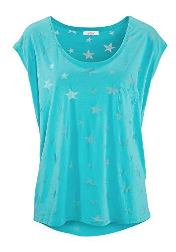 ELFIN Damen T-Shirt Kurzarmshirt Basic Tops Ärmelloses Tee Allover-Sternen Ausbrenner Shirt Sommer Shirt Large Himmelblau -