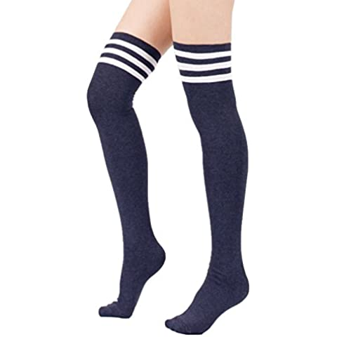 zando Mujer Algodón Triple Calcetines de diseño de rayas más de la rodilla muslo alto medias