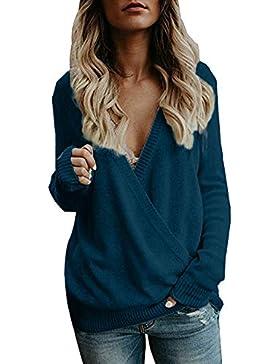 Suéteres Mujer Invierno Jersey de Punto Cuello en V Color Sólido Manga Larga Suéter para OtoñO Invierno Camisetas...