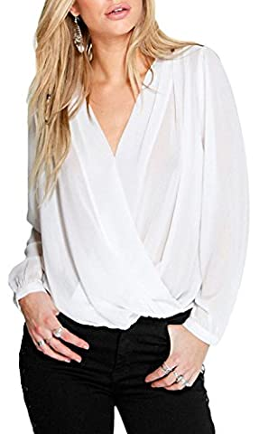 Fempool Woman Stylish V Neck Long Sleeves Crochet Back Chiffon Blouse (UK22-24, white)