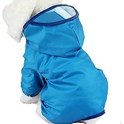 IKRR Ropa Impermeable Chubasquero para Perro Perrito Mascota Con Capucha Azul,S/Busto 44cm