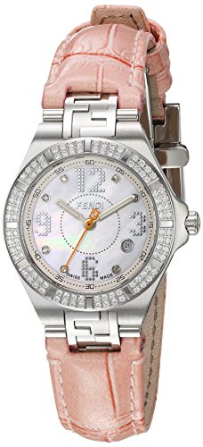 Fendi Women's 28mm Pink Leather Band Steel Case Swiss Quartz MOP Dial Analog Watch F414247DDC
