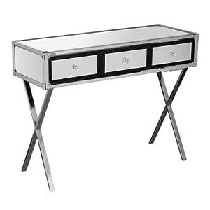 Premier Housewares Table console en acier inoxydable effet miroir Détails croco