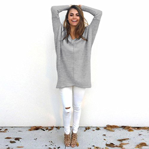 Vovotrade Womens Sexy Casual à manches longues V Neck Jumper Sweaters Coat Blouse Gris