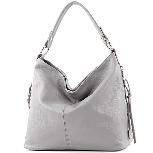 Leder Shopper Tasche (modamoda de - T160 - ital Shopper Schultertasche Groß Leder, Farbe:Telegrau)