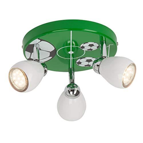 Brilliant Soccer LED Spotrondell 3 flg Deckenstrahler schwenkbar weiß/grün-schwarz-weiß Kinderzimmer 750 Lumen, 3x GU10 3W LED-Reflektorlampen inklusive