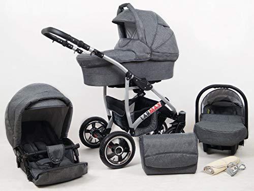True Love Larmax Kinderwagen Komplettset (Autositz & Adapter, Regenschutz, Moskitonetz, Schwenkräder) (Jeans Grau) -