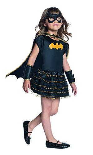 Halloweenia - Mädchen Kinder Batgirl Kostüm mit Kleid, Cape, Armstulpen und Maske, perfekt für Karneval, Fasching und Fastnacht, 128-140, Schwarz (Batgirl Kostüm Einfach)