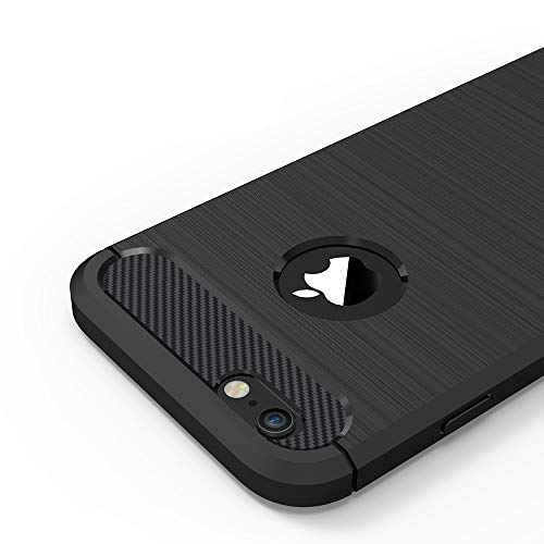 Anjoo iPhone 6/6s Hülle, Carbon Fiber Texture-Inner Shock Resistant-Weich und Flexibel TPU Cover Case für iPhone 6 iPhone 6s, Schwarz