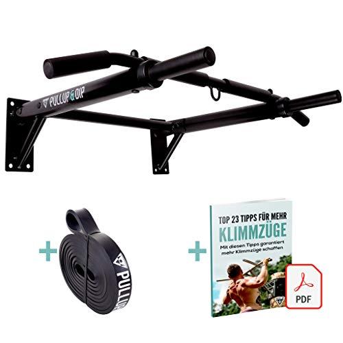 PULLUP & DIP Klimmzugstange Wand, Profi Multigriff Pull-Up Stange für Wandmontage inkl. Schrauben, Klimmzug Band und eBook, bis 200 kg