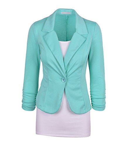 Scothen Femmes Veste Blazer élégant d'affaires Jersey blazer coton Fashion doublée doublure satin à manches 3/4 d'affaires poches Blazer stand-up veste costume féminin veste courte printemps Lumière-Bleu