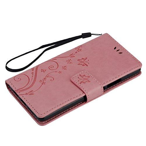 Huawei P9 Lite, P9 Huawei Lite, ikasus, motivo: floreale con farfalle, con aletta, in pelle sintetica in PU a portafoglio-Custodia a portafoglio in pelle con funzione di supporto e porta carte di cred Piccola Farfalla:Rosa
