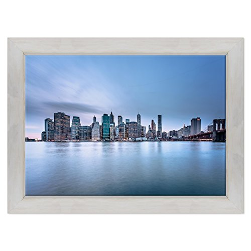 Bild auf Leinwand Canvas - fertig zum Aufhängen - NY New York - Brooklyn Fiume East River Manhattan - USA Amerika Dimensione: 70x100cm D - Colore Bianco Shabby