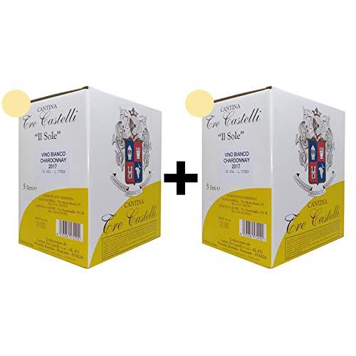 2 bag in box - chardonnay 12° 5 litri vino bianco - cantina tre castelli