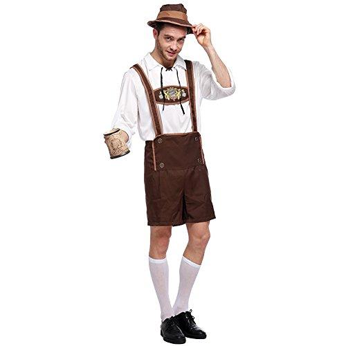 Kostüm Erwachsenen Bierkrug Für - Weesey Männer Oktoberfest Kostüm Set Erwachsene Hosenträger Shorts mit Hemd und Hut Outfits Kleidung Set