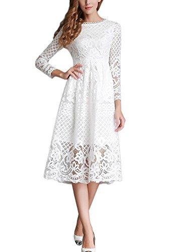 (Minetom Damen Kleid Lange Ärmel Sommerkleid Spitze Elegant Abendkleid Partykleid Maxi Kleid Weiß DE 44)