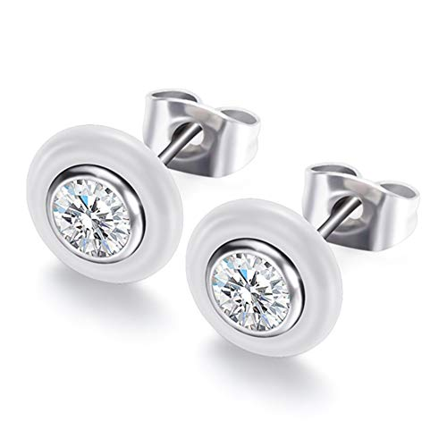 HIWSSH Ohrring Wedding Ohrring Jewelry Black White Ceramic Stud Ohrrings For Women With Big Carat AAA Health Ceramic Round Zirconia Ohrring White