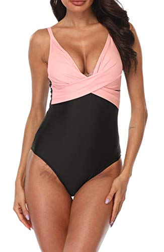 B2prity Badeanzug Sexy V-tiefer Frauen Einteiler Eintauchen Kreuz Geraffte Rückenfreie Monokini-Badeanzug (Druckblume12, XL (EU 40-42)) (Falten Sie über Badeanzug)
