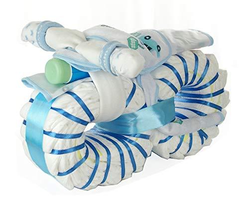 dubistda© Babyboy Windelmotorrad für Jungen blau / 43-teilig/Geschenk zur Geburt