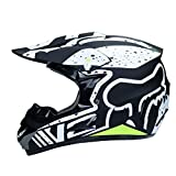 WZFC Crosshelm Motocross Enduro Downhill Helm Motorradhelm Integralhelm (Model-FOX-11),Black,M
