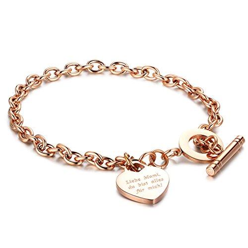 Gkmamrg Damen Armband mit Gravur Rosegold, Edelstahl Kugel dopplte Herz Anhänger Perlenkette Armkette Armreif mit Fußkette Panzerarmband (Mama Armband)