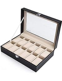 Readaeer Caja para 12 relojes con tapa de cristal, piel sintética, color negro