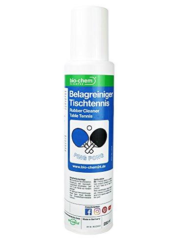 bio-chem Belagreiniger Tischtennis | Ping-Pong-Reiniger | Tischtennisschläger-Pflege für mehr Grip, Spin und Speed | Schwammkopf-Flasche zum direkten Auftragen | VOC-frei | 250 ml