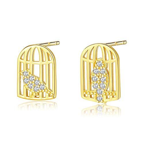 ZHWM Ohrringe Ohrstecker Ohrhänger Neuheiten 18 Karat Gold Farbe Käfig Vogel Für Frauen Exquisite Nette 925 Silber Sterling Kleine Schmuck Frauen Baumeln 1 Paar
