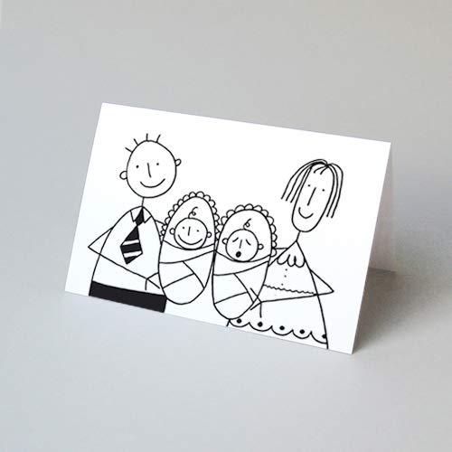 witzige Glückwunschkarte für Zwillinge von Franz Basdera, Klappkarte inkl. einem sonnengelben Umschlag