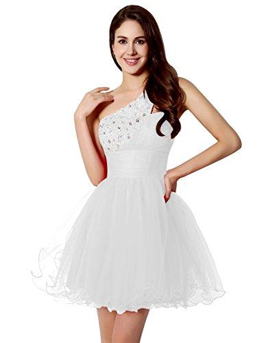Sarahbridal Damen Mini Ein-Schulter Tüll kurz Cocktailkleid Abschlussballkleider Partykleid mit Pailletten und Perlen SSD230 Weiß Gr.EU34 (Weiß One Shoulder Perlen)