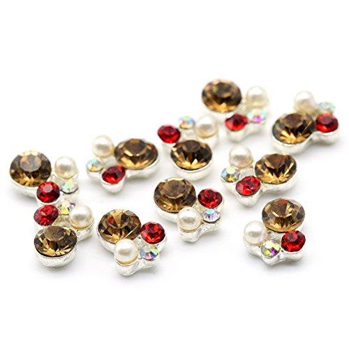 Five Season 10 pcsBling Decoration Perles Bijou Cristal Accessoire Alliage Nail Art Manucure, 1*0.8cm, Argent*Brun*Blanc