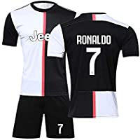 LSY Uniforme de fútbol Juventus Football Club Home Cristiano Ronaldo 7# Camiseta de Manga Corta, Camiseta y Pantalones Cortos de fútbol para Hombres y niños,22