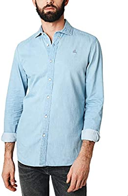 Scalpers Denim K Shirt Camisa Casual, , Large (Tamaño del Fabricante:43) para Hombre