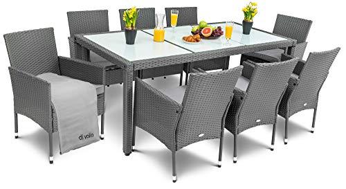 diVolio Gartenmöbel Set Poly Rattan Sitzgruppe Verona 8 Stühle + 1 Tisch in DREI Farben / 5cm Dicke Auflagen/Abdeckplane & gratis Fleecedecken (grau/grau)