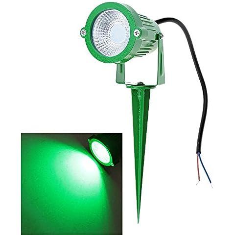 Lixada RGB Lampade senso,riflettore, Paletti solari in alluminio - A tecnologia LED - per giardino/ sentiero/ stagno/ prato/ paesaggio - colore verde e nero con pannello solare, Ad Alta Potenza, 6W, 85-265V AC, IP65, CE RoHs, 1 pezzi