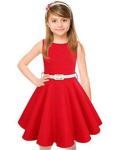 Kidsform Mädchen Kleid 1950er Vintage Retro Kleid Hepburn Stil Kleid Blumen Kleid TaufKleid Kinder Geburtstag kleid Rot 7-8Y (Vintage Geburtstag Kleid)