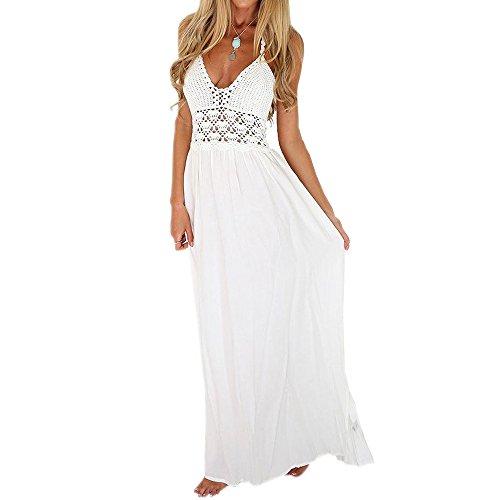Weant abiti donna, abito vestito donna gonna lunga chiffon elegante abito pizzo bianco dress estate veste cocktail vestito senza maniche beach party vestito lungo abiti lunghi abito (zbianca b, l)