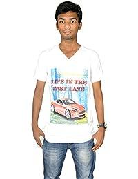 revin white with blue colour v neck tshirt