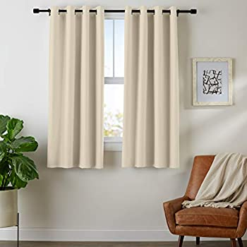 "AmazonBasics Room - Darkening Blackout Curtain Set with Grommets - 42"" x 63"", Taupe"