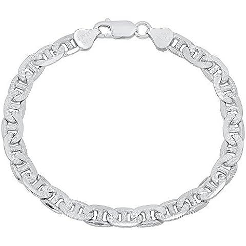 6,5 mm, da uomo, in argento Sterling 925 solido, Diamond-Cut-Braccialetto a maglie marine - 8 Flat Marina Catena
