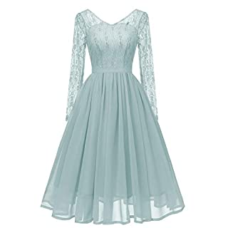 Molly Moda Women Floral Lace Chiffon V Neck Long Sleeve Cut Out Back Midi Skater Prom Dress Bridesmaid Party Cocktail Day Formal Occasion M 10 Aqua