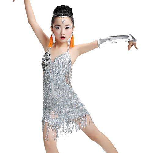 ZYLL Pailletten Fransenkleid Tanz Gold Latin Wettbewerb Kostüme für Mädchen Salsa Kleider mit Quasten Samba Kleidung Kinder Ballsaal,White,150CM
