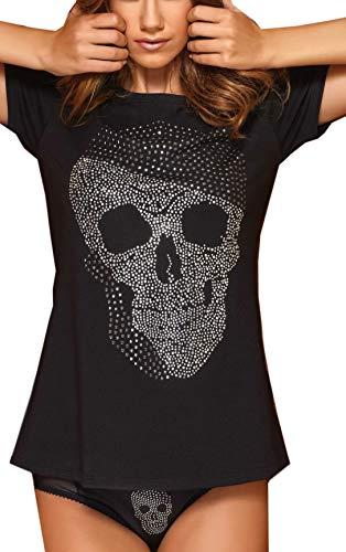 halsshirt mit Strass-Totenkopf Top T-Shirt Body Damen (S, Schwarz) ()