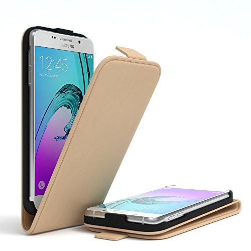 Samsung Galaxy A3 (2016) Hülle - EAZY CASE Premium Flip Case Handyhülle - Schutzhülle aus Leder zum Aufklappen in Rot Hellbraun