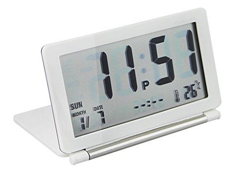 Reloj escritorio digital Foldable despertador viaje Snooze ultra-mince Mini réveille electrónico silencioso...