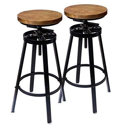 GREMOBABALA Barhocker, höhenverstellbar, Metall, drehbar, modern, 2 Stück, für Bistro, Pub, Küche, Kaffee, runde Holzsitze -