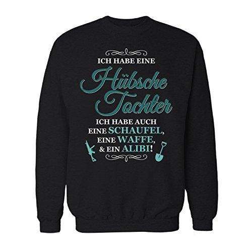 Fashionalarm Herren Sweatshirt - Ich habe eine hübsche Tochter | Fun Pullover als Geburtstag Geschenk Idee für Väter, Farbe:schwarz;Größe:XL