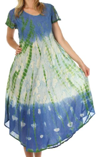 Sakkas 20831 Mika Ombre Floral Caftan Dress – Blue / Cream – One Size