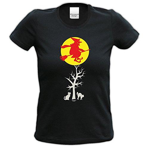 Extrem stylisches Halloween-Girlie-Damen-Fun-T-Shirt als Geschenke-Idee Motiv: Hexe Farbe: schwarz Schwarz
