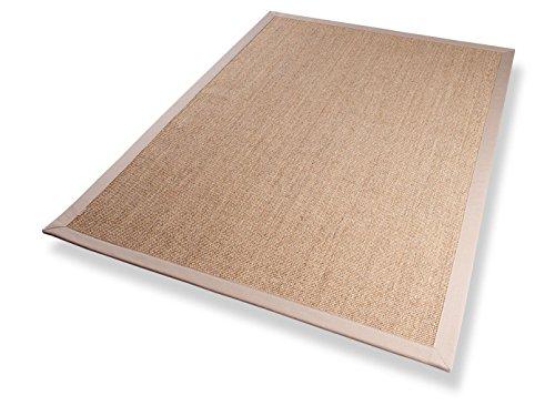 Sisal Teppich Bordürenteppich Naturfaser Läufer Flachgewebe natur beige, verschiedene Größen, Variante: 67 x 133 cm